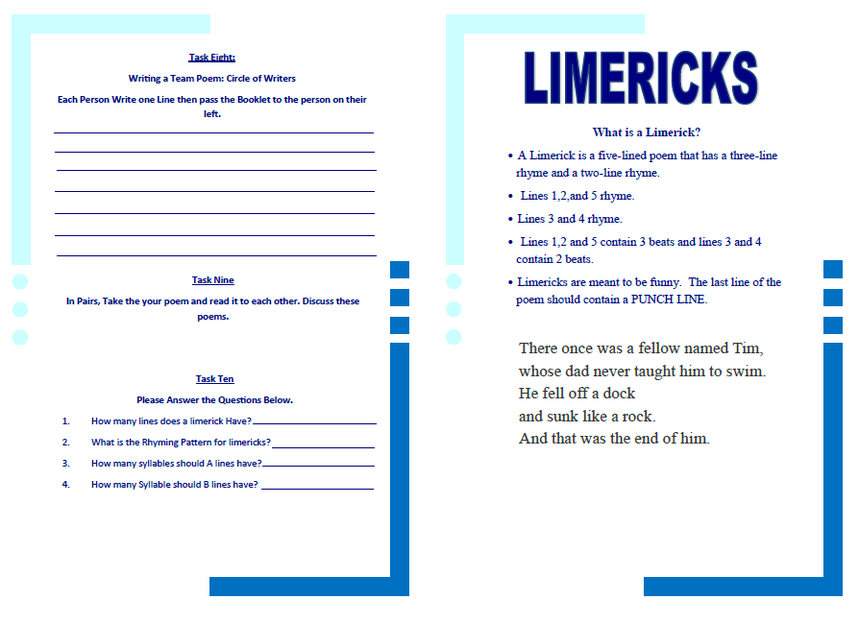 Limerick Worksheet - Edfd221